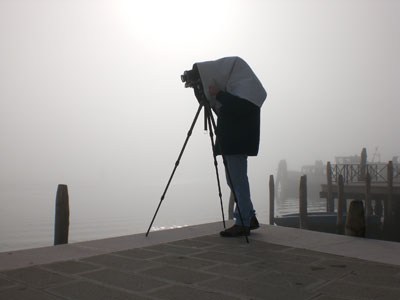 Marco Bianchi with his camera in Venice. Photo Luisella Artabano