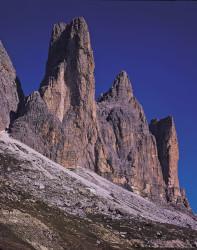 Cima Piccola, Punta Frida e Cima Piccolissima, gruppo delle Tre Cime di Lavaredo, Dolomiti, Italia