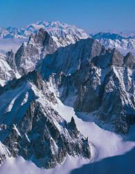Monte Rosa, Aiguille de Leschaux and Petites Jorasses