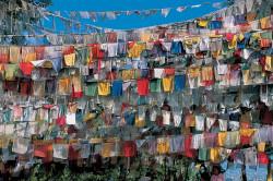 Bandiere di preghiera a Swayambhunath, Kathmandu, Nepal
