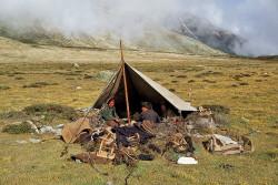 Tibetan people in the Shisha Pangma valley, Tibet