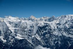 Manaslu (8.163 m) as seen from Dhaulagiri (8.167 m), Nepal
