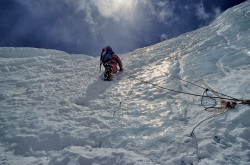 Christian Kuntner climbing on the North Col (7.000 m) of Mount Everest, Tibet