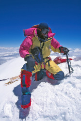 Marco Bianchi on the summit of Mount Everest (8.848 m)