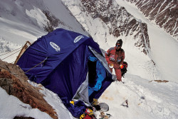 Christian Kuntner at Camp II on the North Ridge of K2 (8.611 m), China