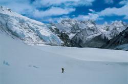 Andrea Rosa approaching Camp I of Makalu, Nepal